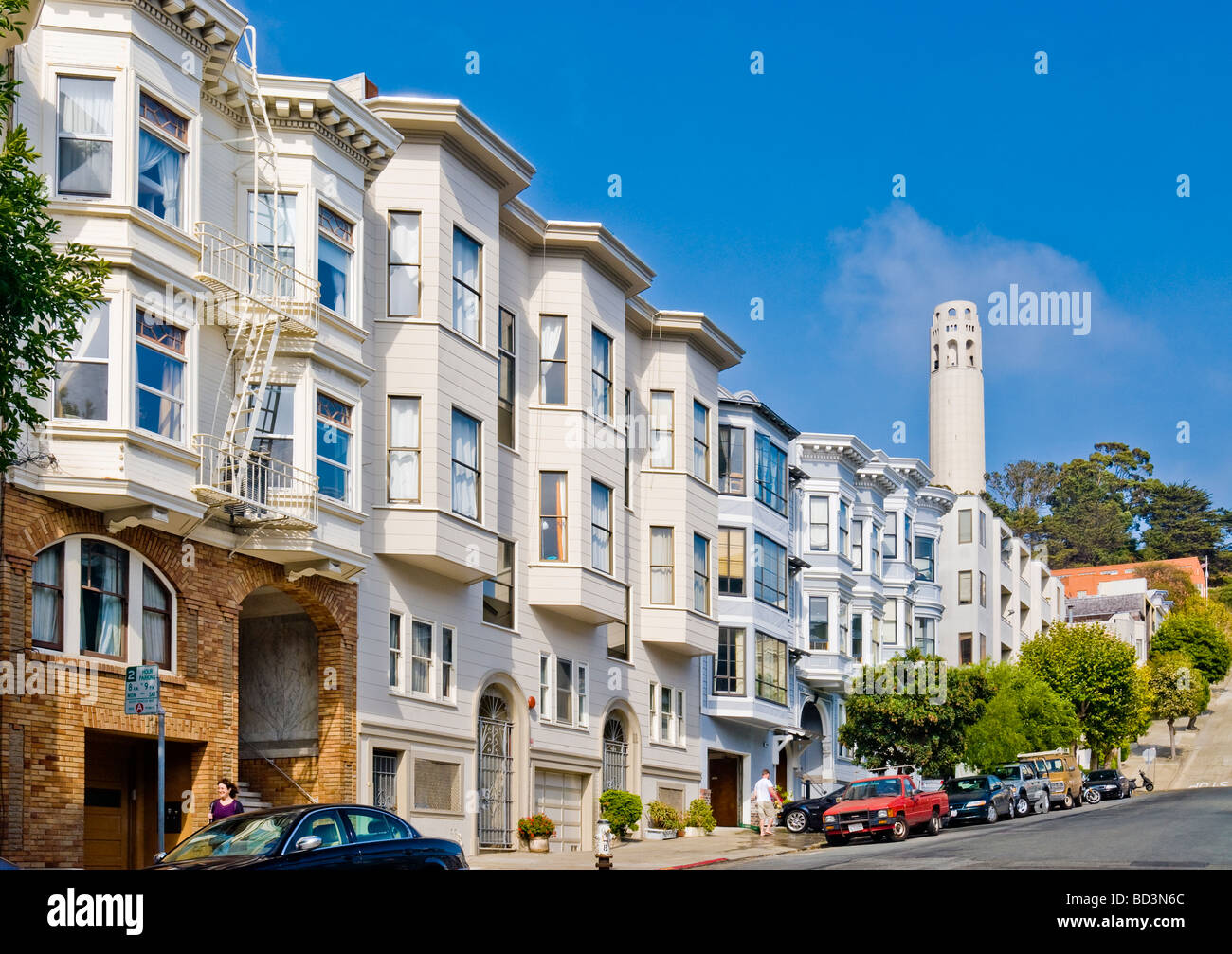 Quot Filbert Street Quot In Quot North Beach Quot Neighborhood With Quot Coit Tower Quot San Stock Photo Royalty Free