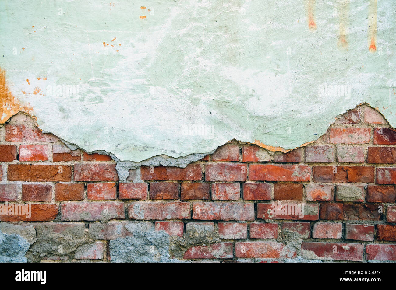 weathered obsolete old brick wall Stock Foto