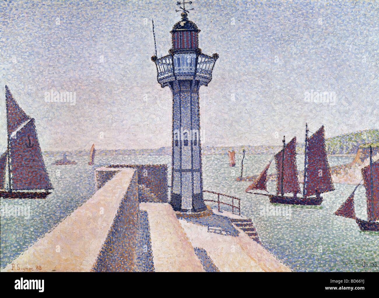 "fine arts, Signac, Paul, (1863 - 1935), painting, ""Portrieux, Le Phare"", 1888, Rijksmuseum Kröller-Müller, Otterlo, Stock Foto"