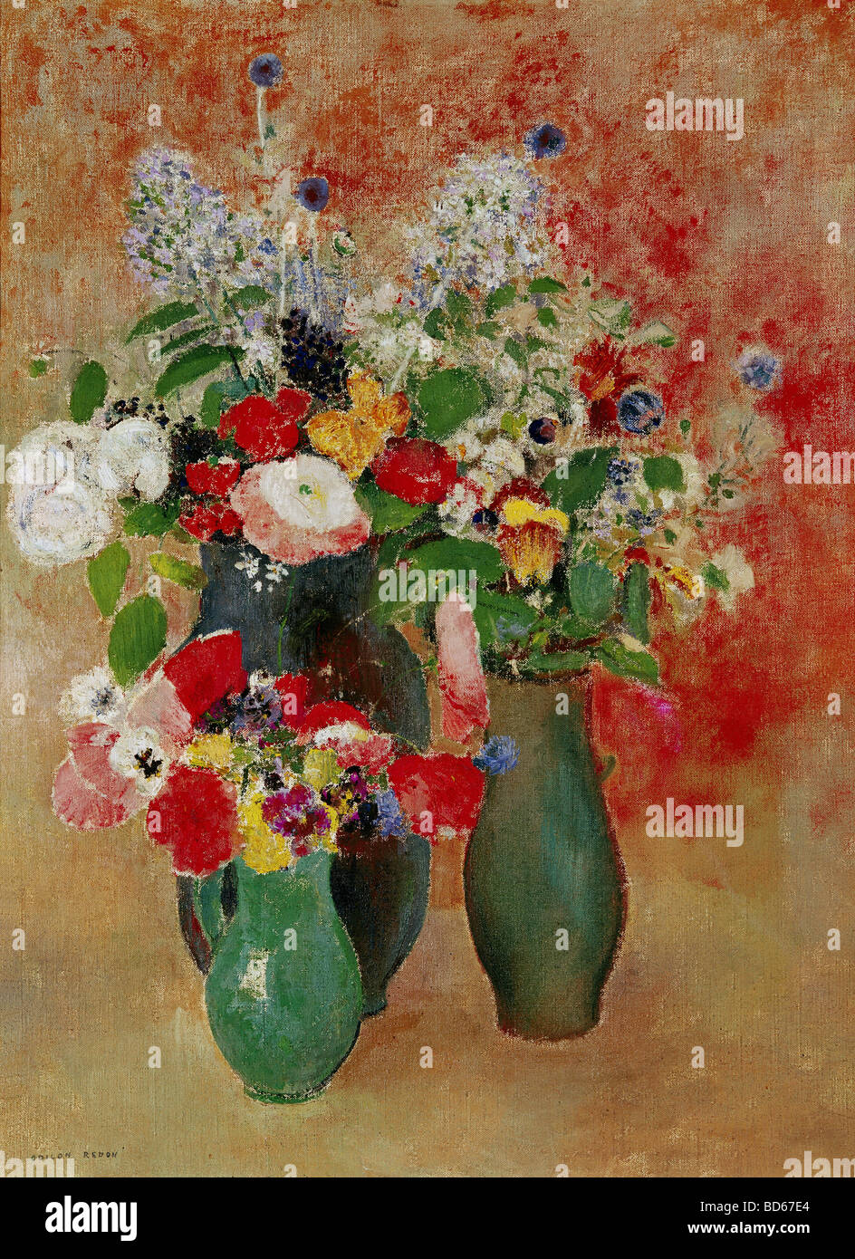 "fine arts, Redon, Odilon, (22.4.1840 - 6.7.1916), painting, ""flowers still life"", Von der Heydt-Museum, Wuppertal, Stock Photo"