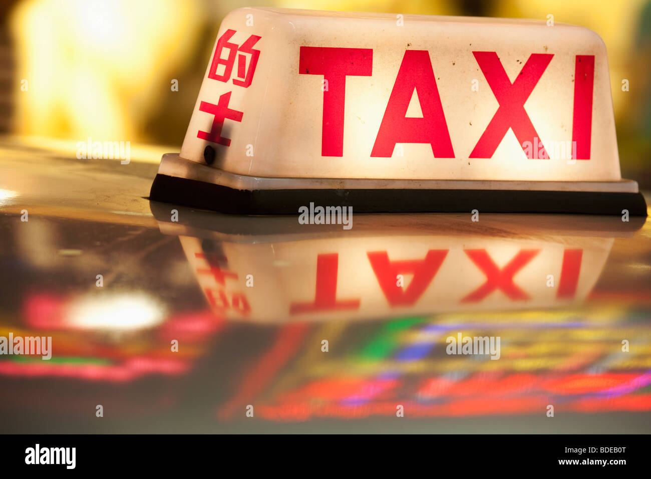 Neon signs and taxi light Tsim Sha Tsui Kowloon Hong Kong China Stock Foto