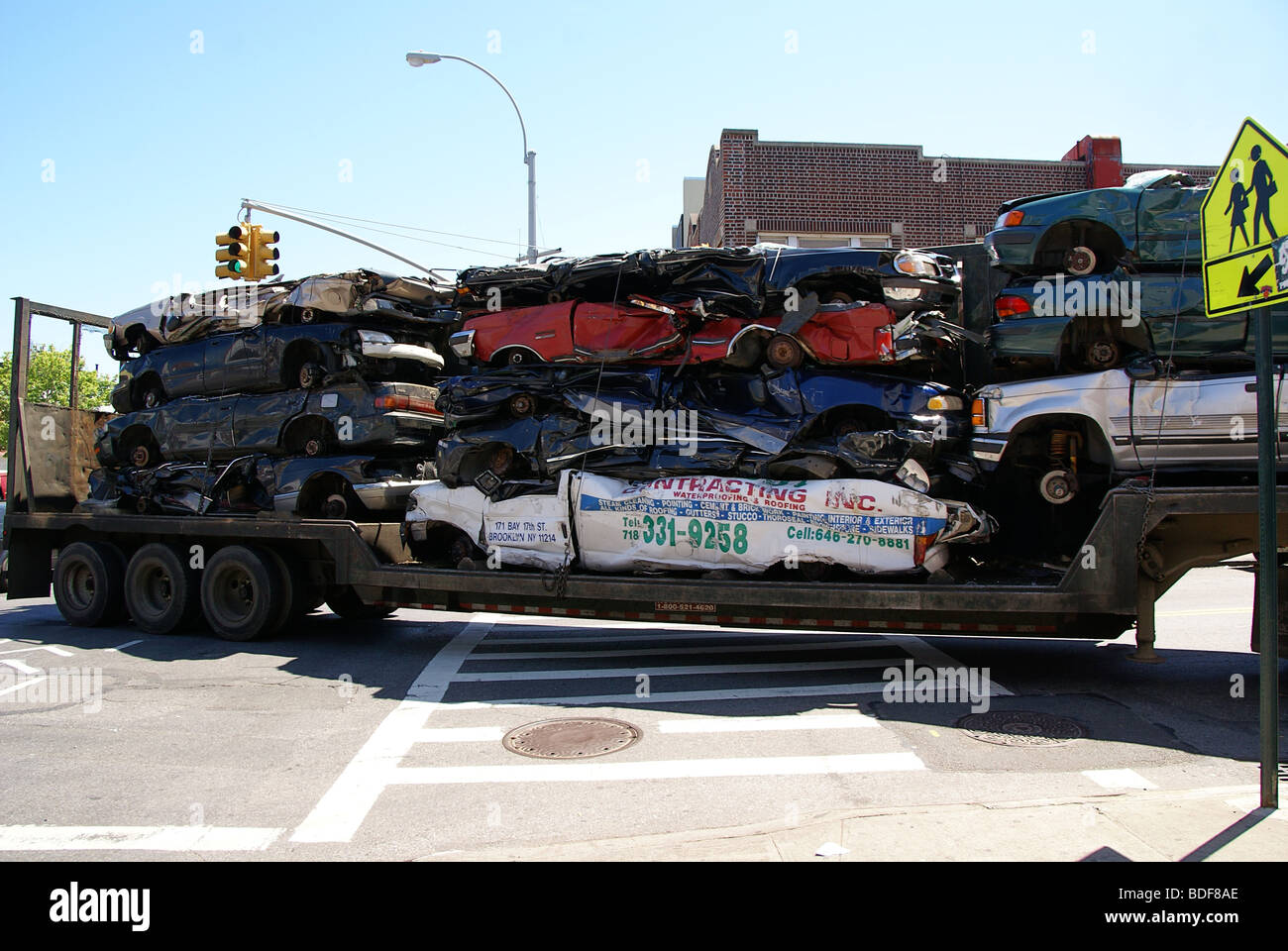 Cash For Clunkers >> Car wrecks are being transported Stock Photo, Royalty Free Image: 25536742 - Alamy