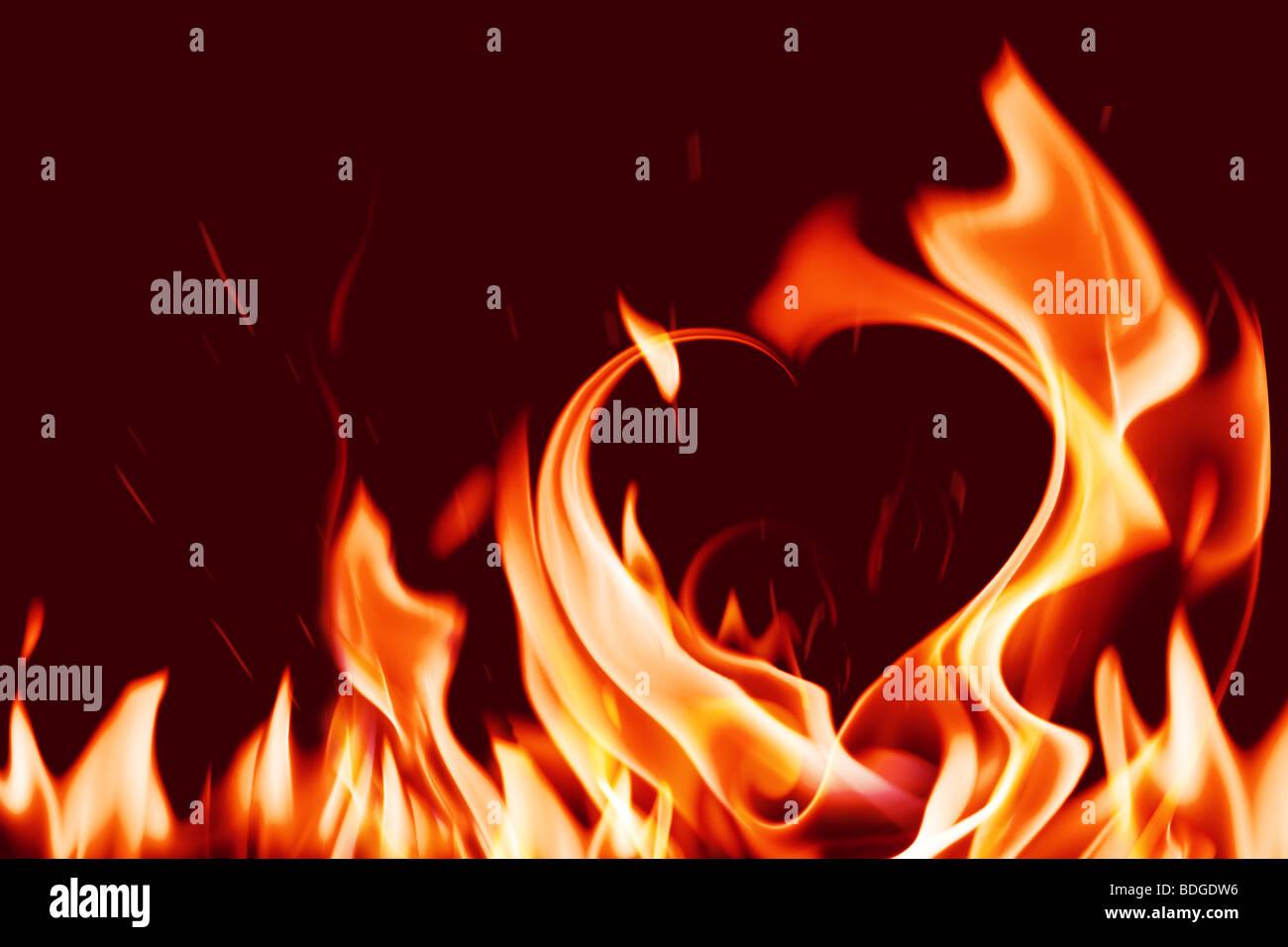 heart in fire Stock Foto
