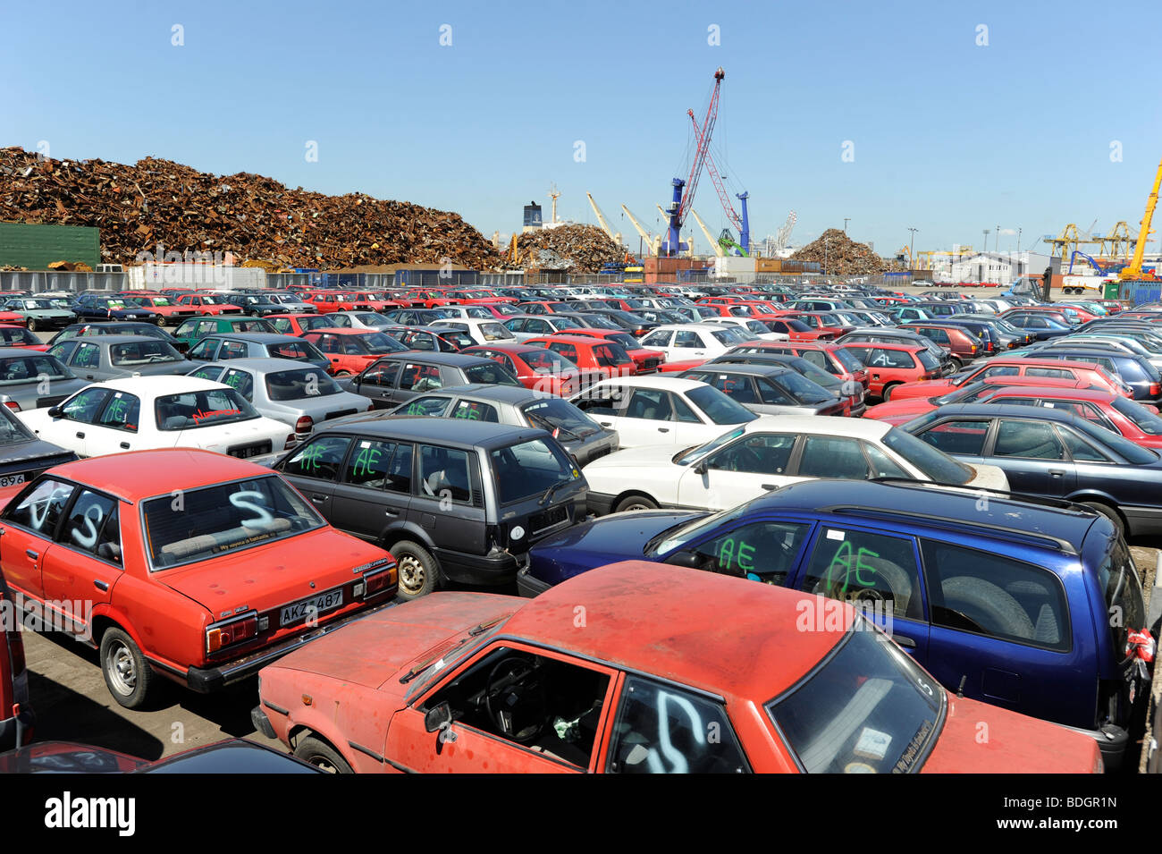 Cash For Clunkers >> Germany Hamburg , Used Old Cars Await Export To Africa ...