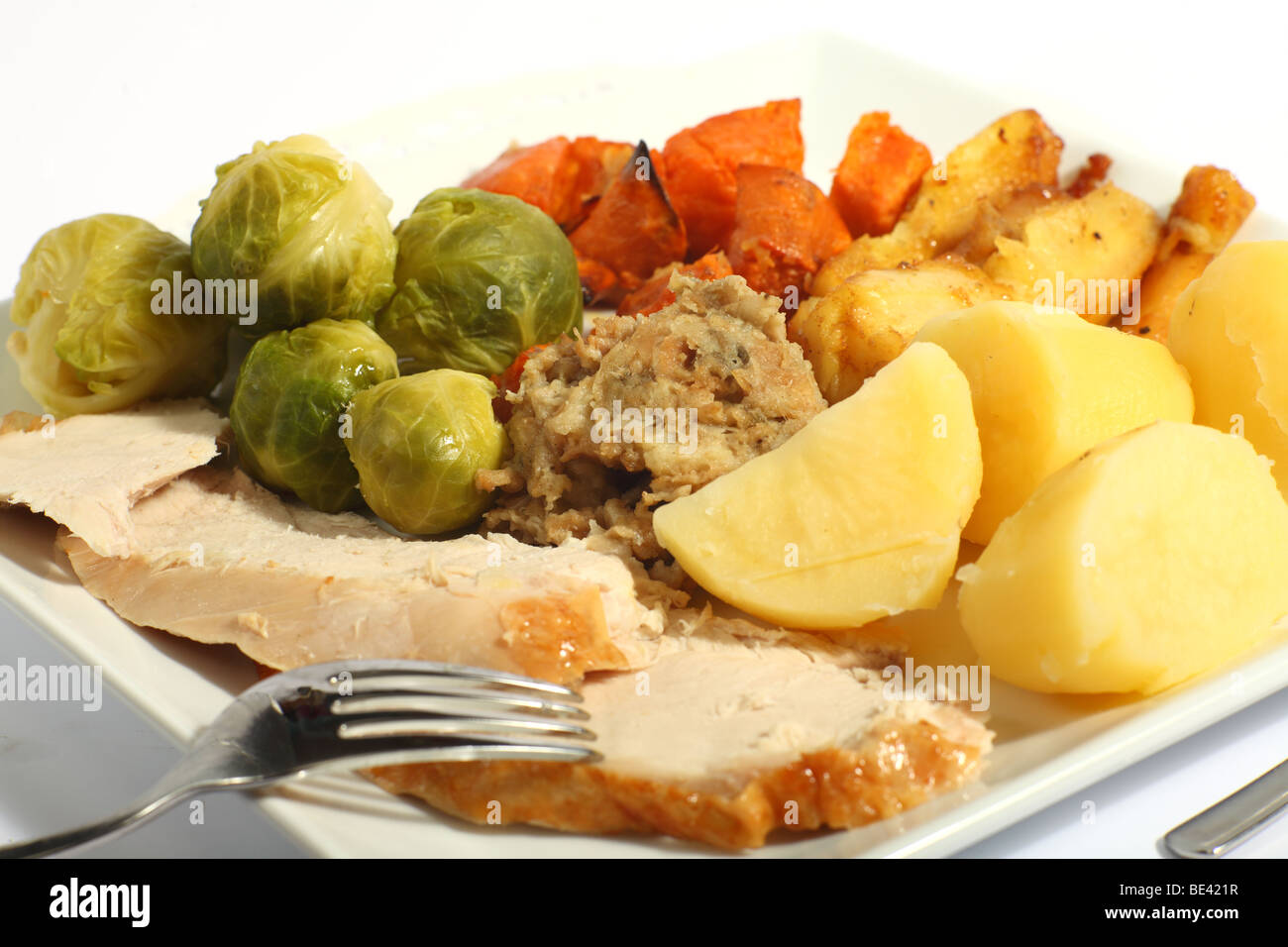 A meal of roast turkey with all the trimmings brussels for Thanksgiving dinner with all the trimmings
