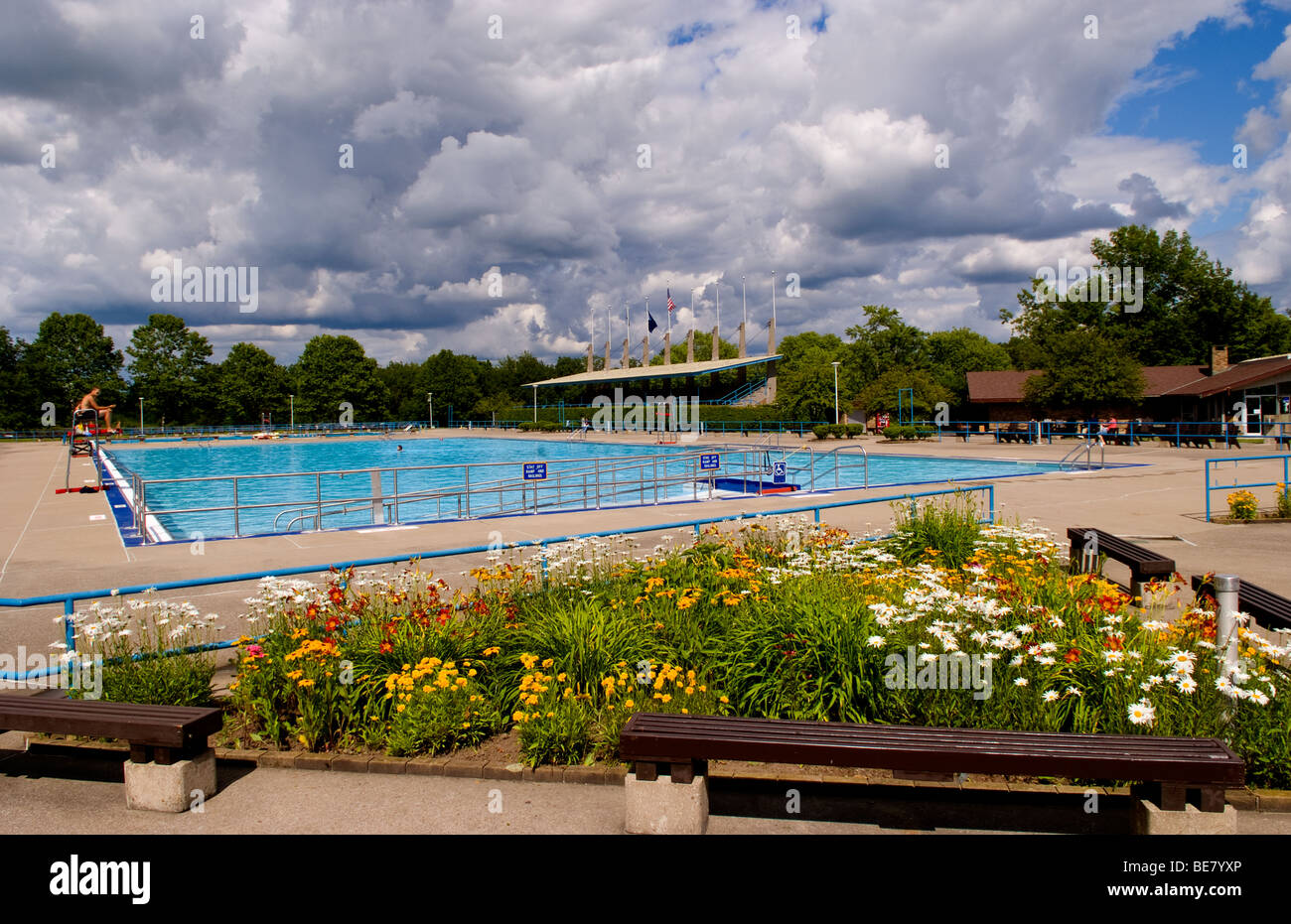 Large Public Swimming Pool With Life Guard At Letchworth
