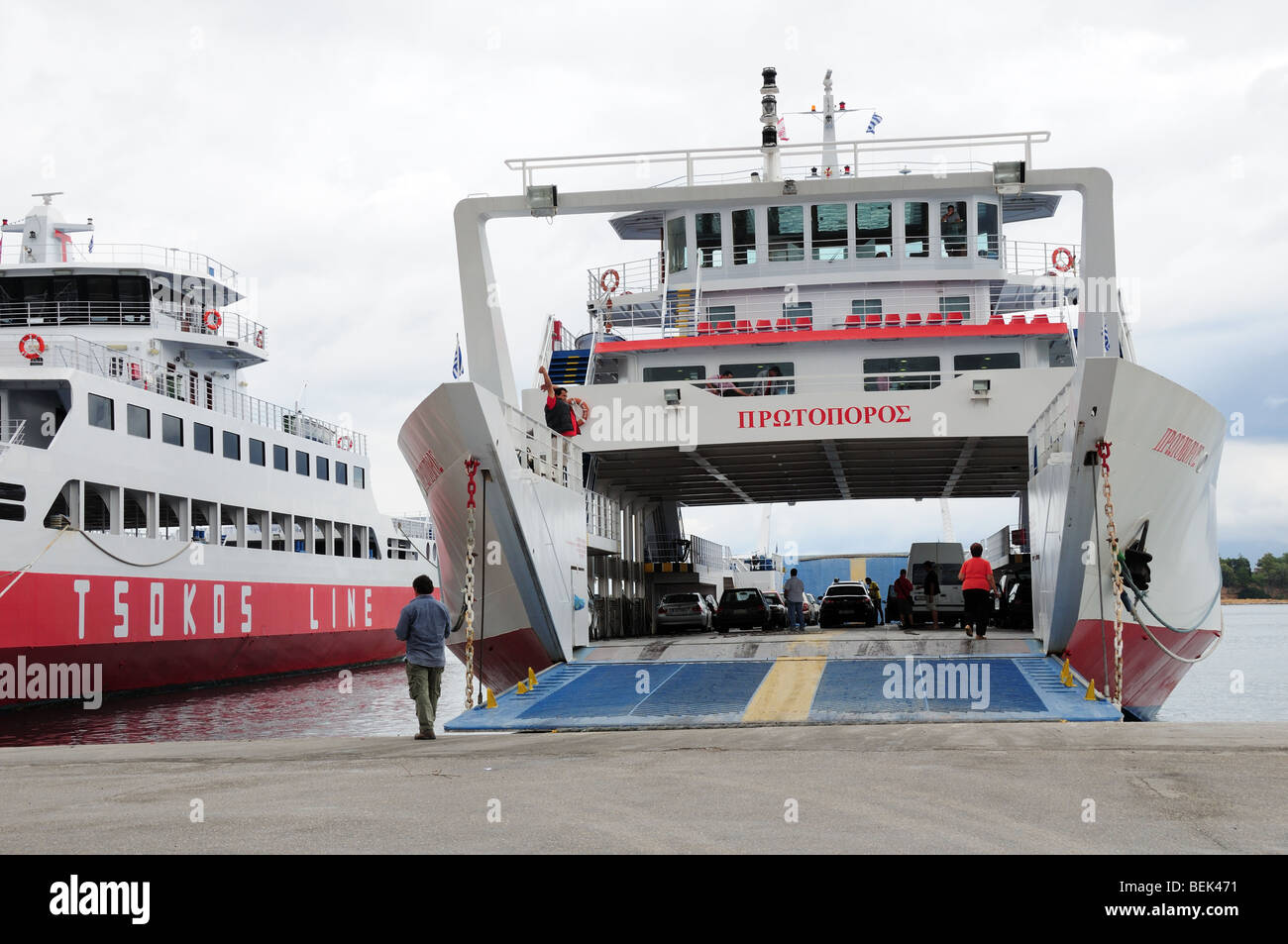Car Ferry loading at Eretria Harbour Evia on route to ...