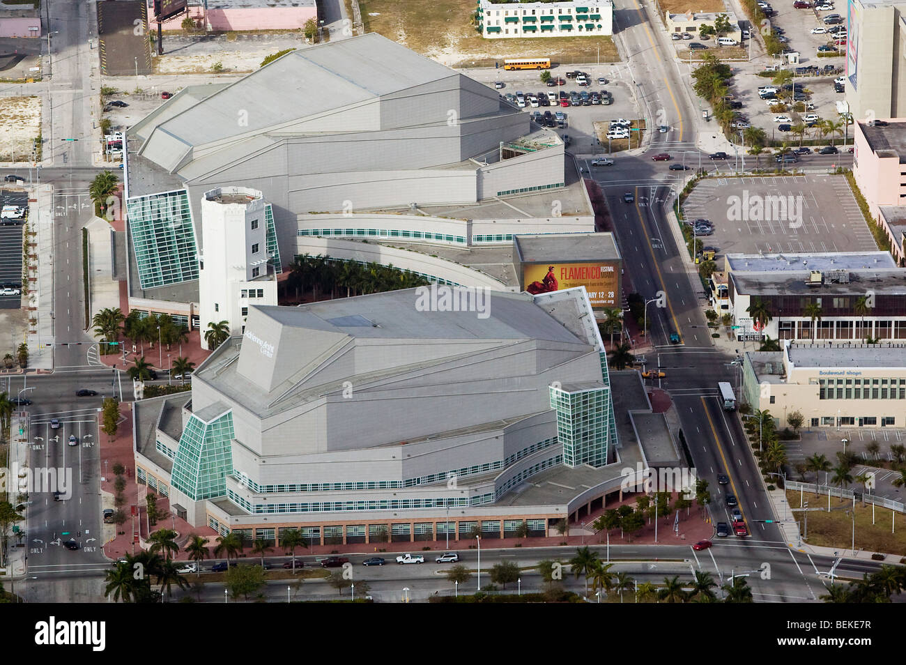 aerial above Adrienne Arsht center for the Performing Arts Biscayne Boulevard downtown Miami Florida USA Stock Photo