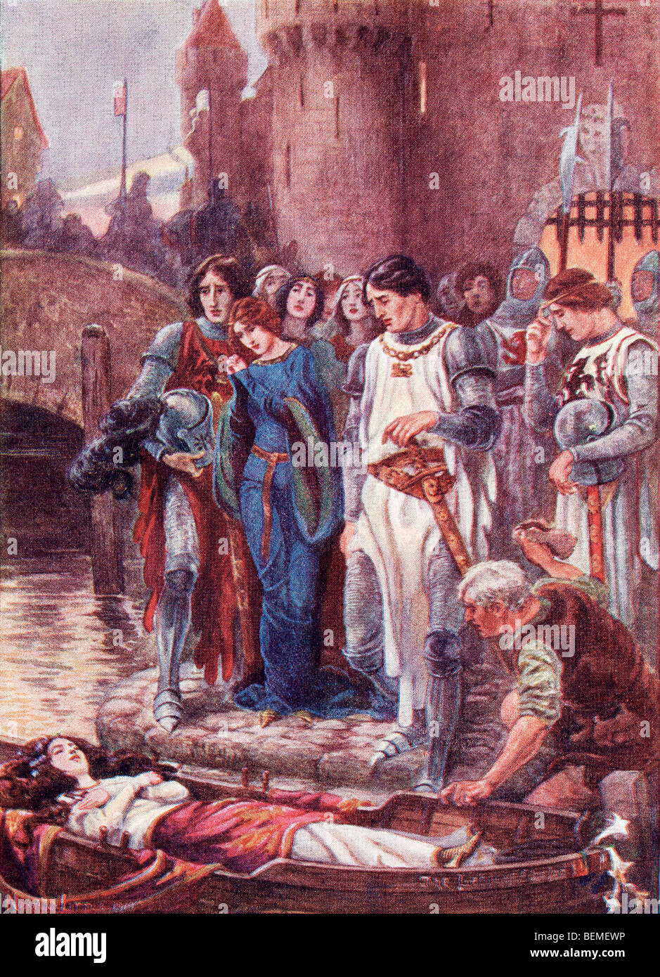 the lady of shallot sir lancelot On the island are four gray walls and four gray towers, and within is the lady of shalott in part iii, the handsome and courageous sir lancelot is introduced the language is sensual and heroic, and the lady of shalott is as entranced as the reader.