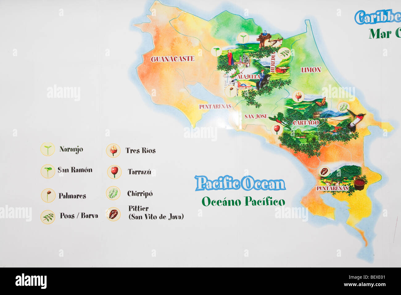 Costa Rica Coffee Tour Map