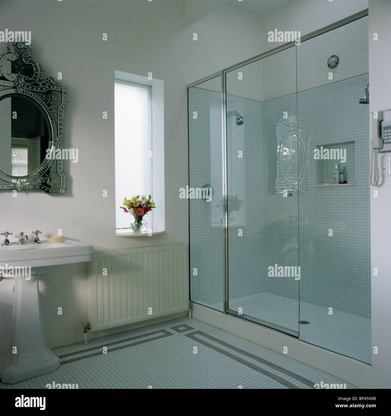 Glass Wall And Door To Walk-in Shower Cabinet In Modern White Stock Photo: 26522544