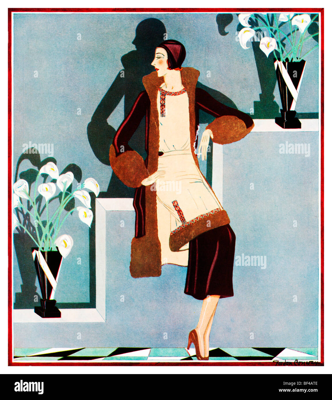 Afternoon in velvet beautiful 1930s art deco fashion for Art deco illustration