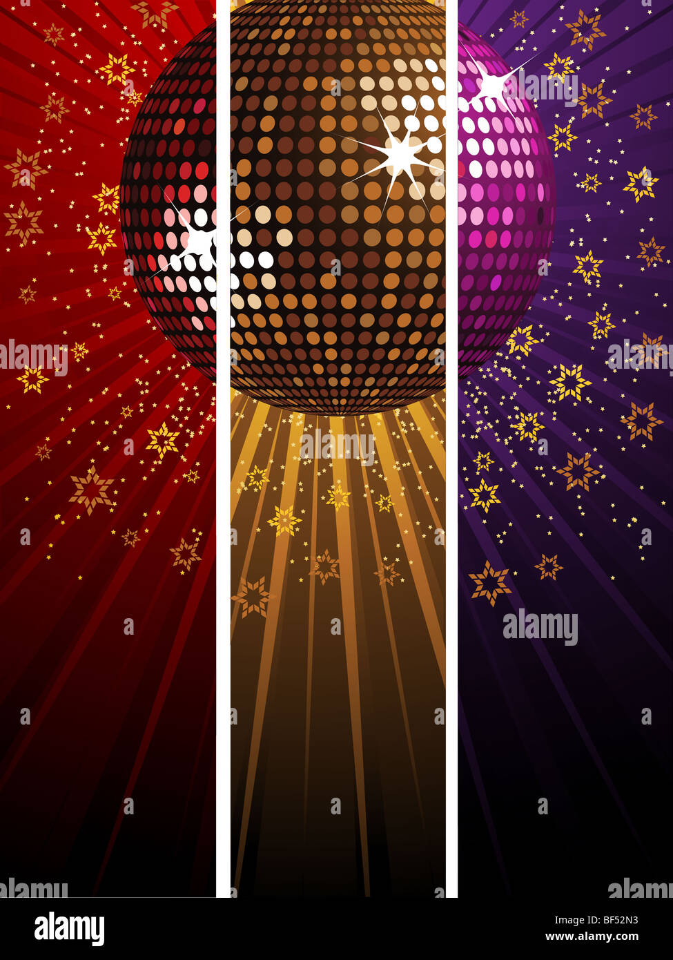 Sparkling Disco Ball Divided Over Red Gold And Purple