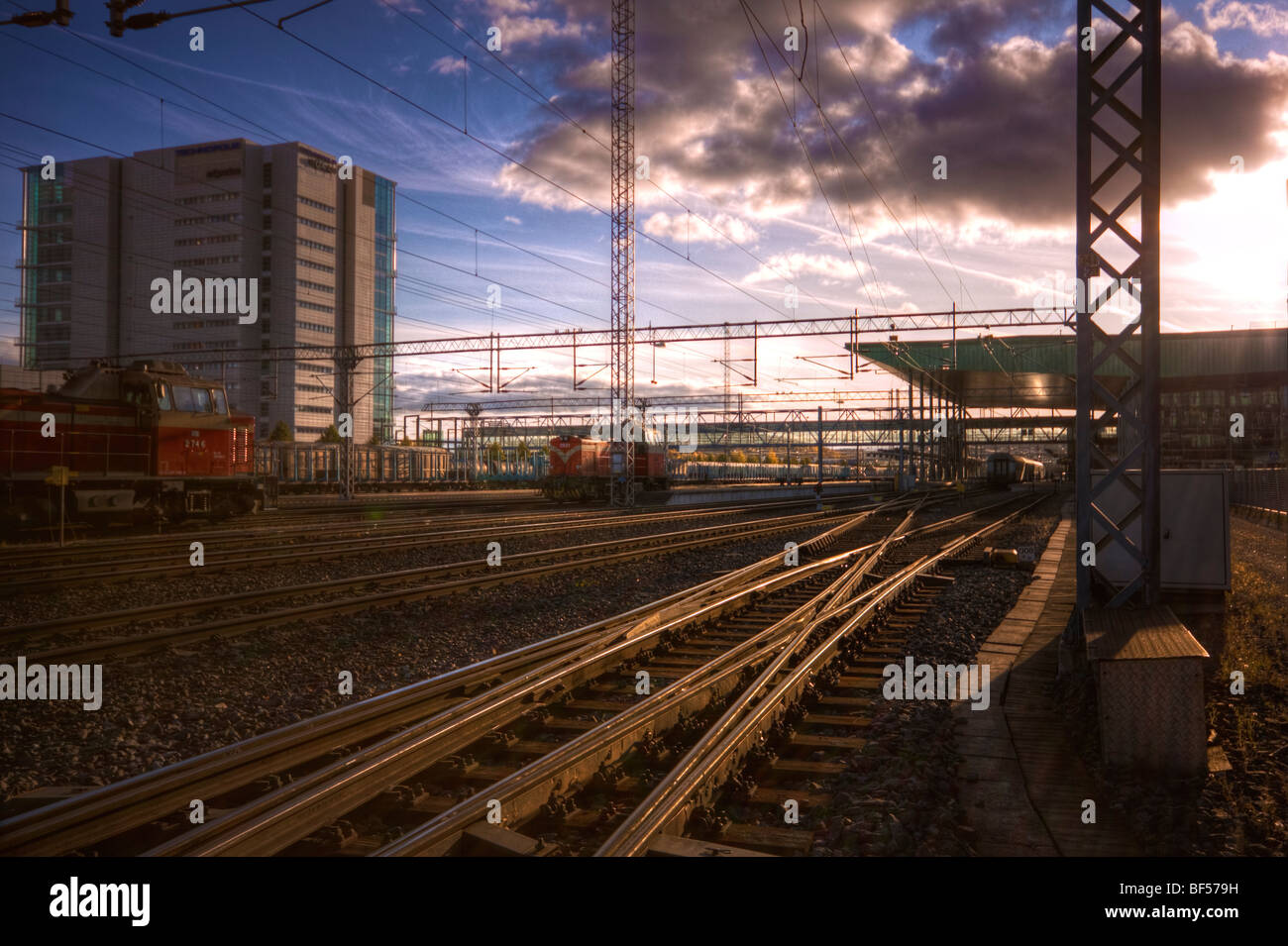 Railroad station sunset Stock Photo