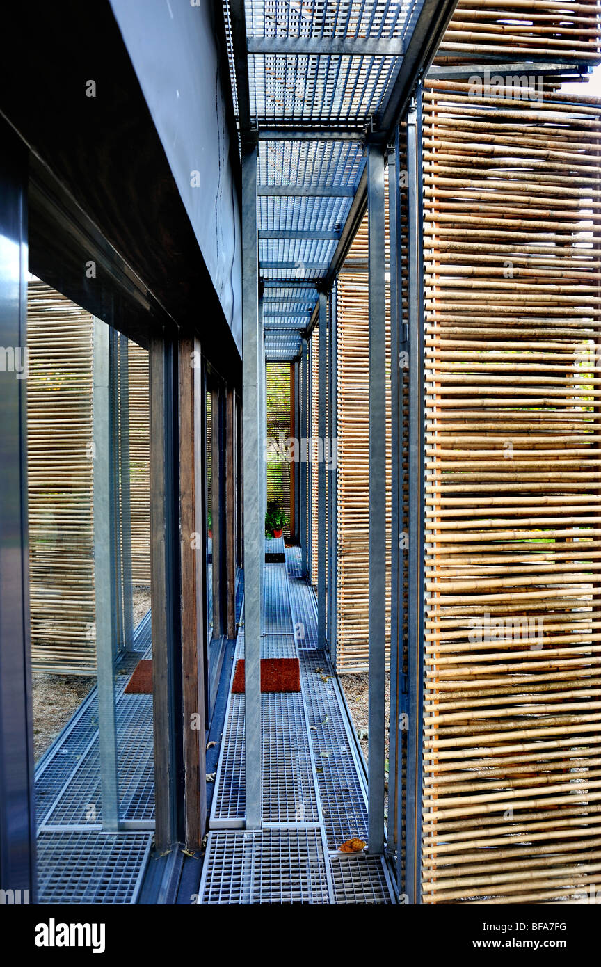 Paris, France, Green House, Passive House, Detail, Bamboo Shades outside Insulated Glass Doors, Buildings Stock Photo
