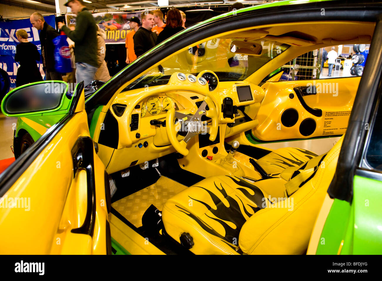 yellow and black interior in a custom styled car at scandinavian stock photo royalty free image. Black Bedroom Furniture Sets. Home Design Ideas