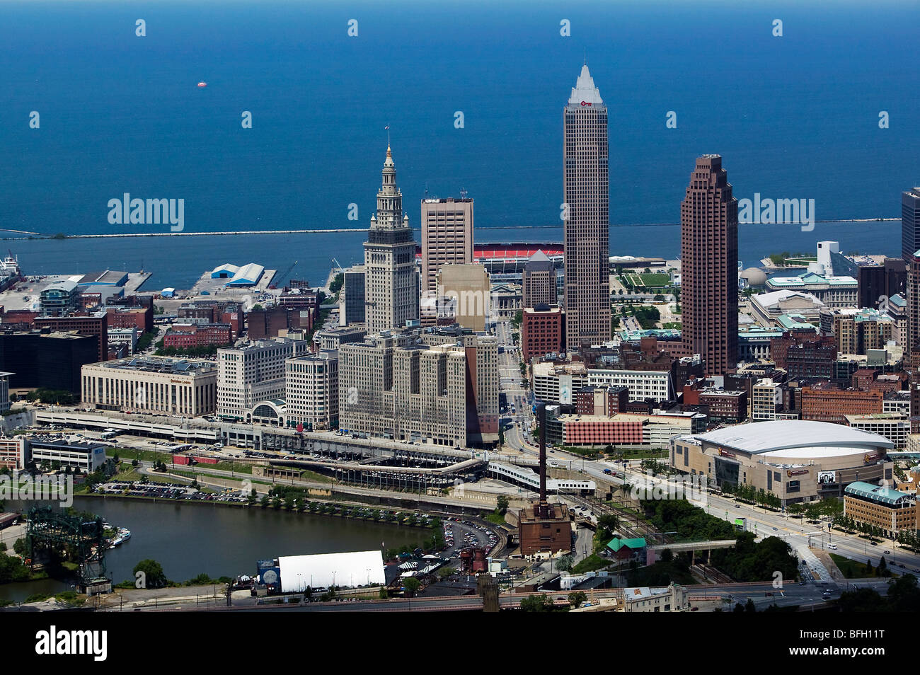 aerial view above downtown Cleveland public square Lake Erie Cuyahoga river Stock Photo