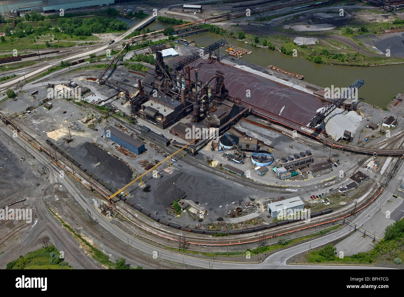 aerial view above Cleveland steel mill Cuyahoga river Ohio Stock Photo