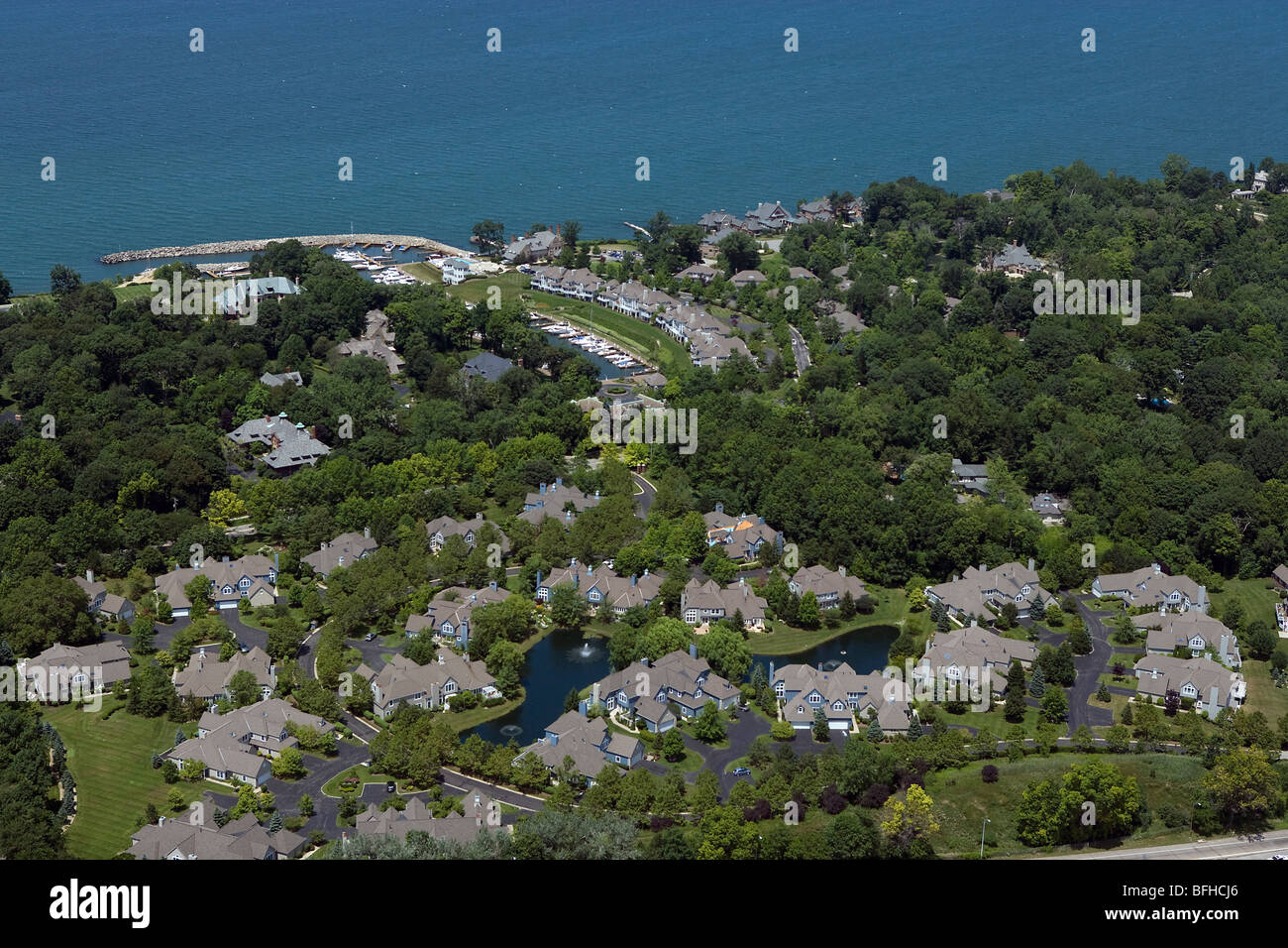 aerial view above Bratenahl wealthy suburb Lake Erie Cleveland Ohio Stock Photo