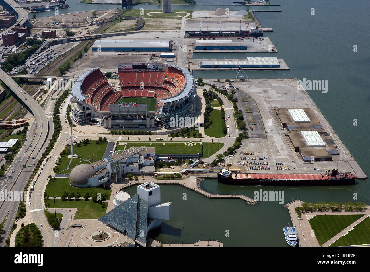 aerial view above Cleveland Browns Stadium Rock and Roll Hall of Fame Ohio Stock Photo