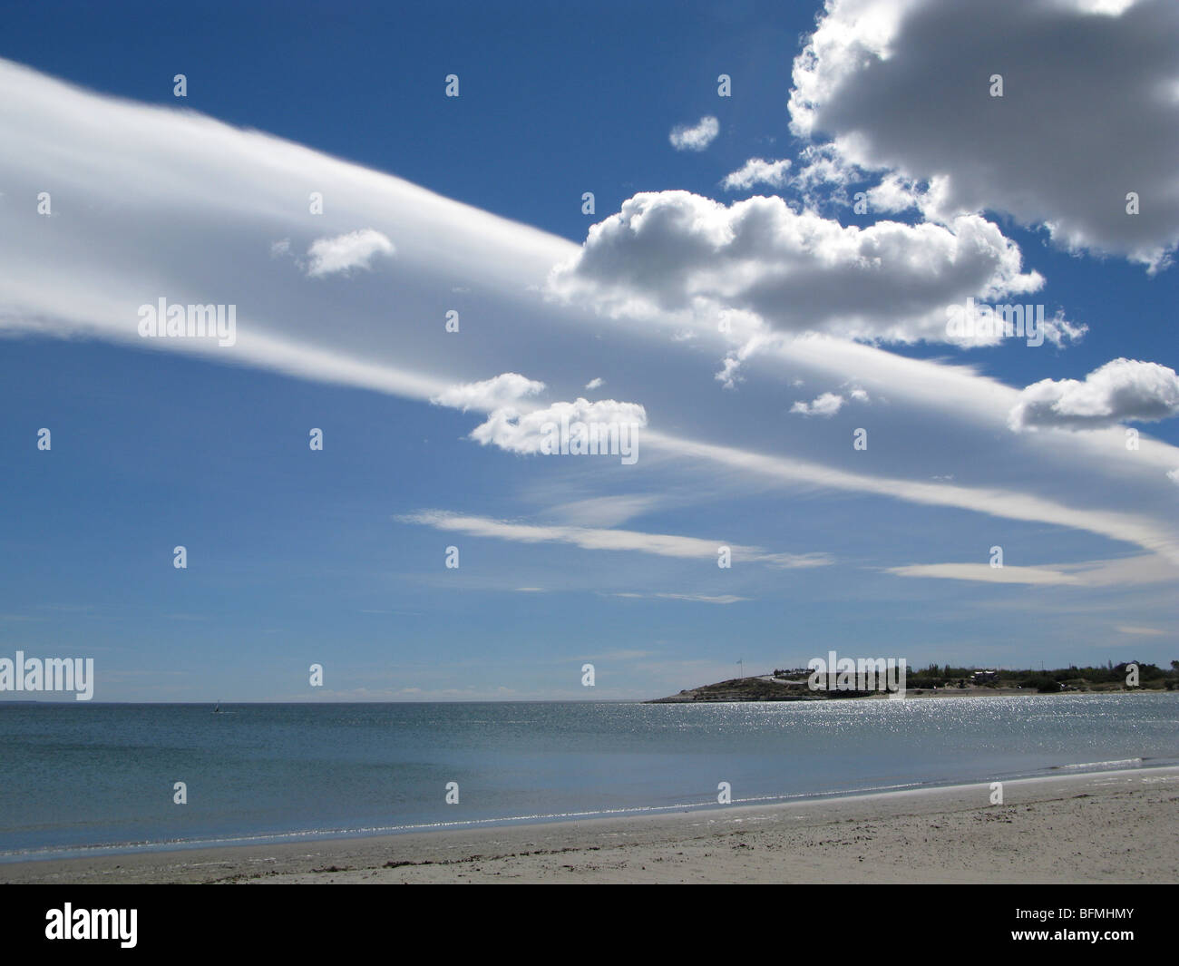 cloud formation above puerto madryn bay  in argentine patagonia stock photo  royalty free image
