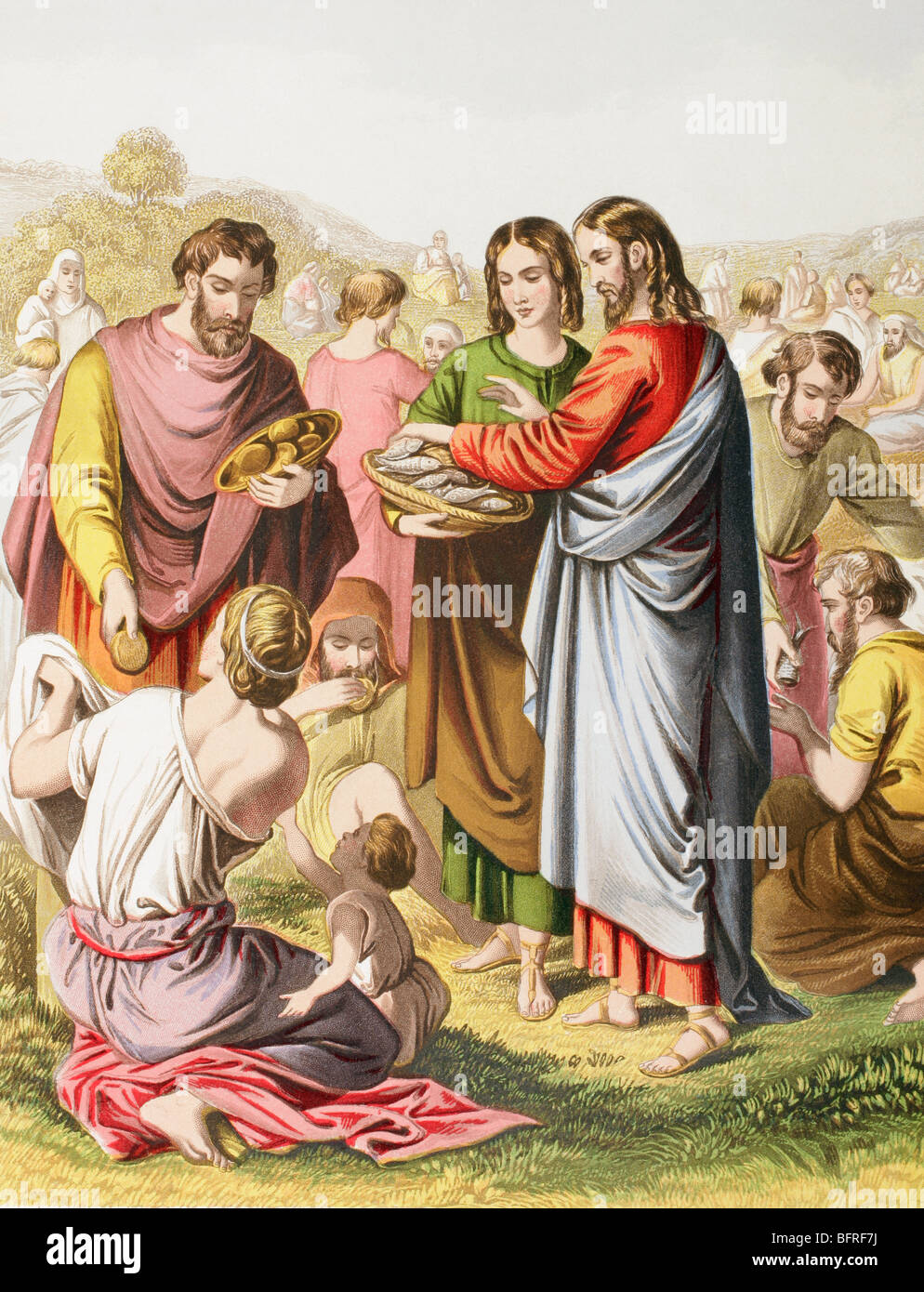 Jesus feeding the multitude the miracle of loaves and for Miracle of the loaves and fishes
