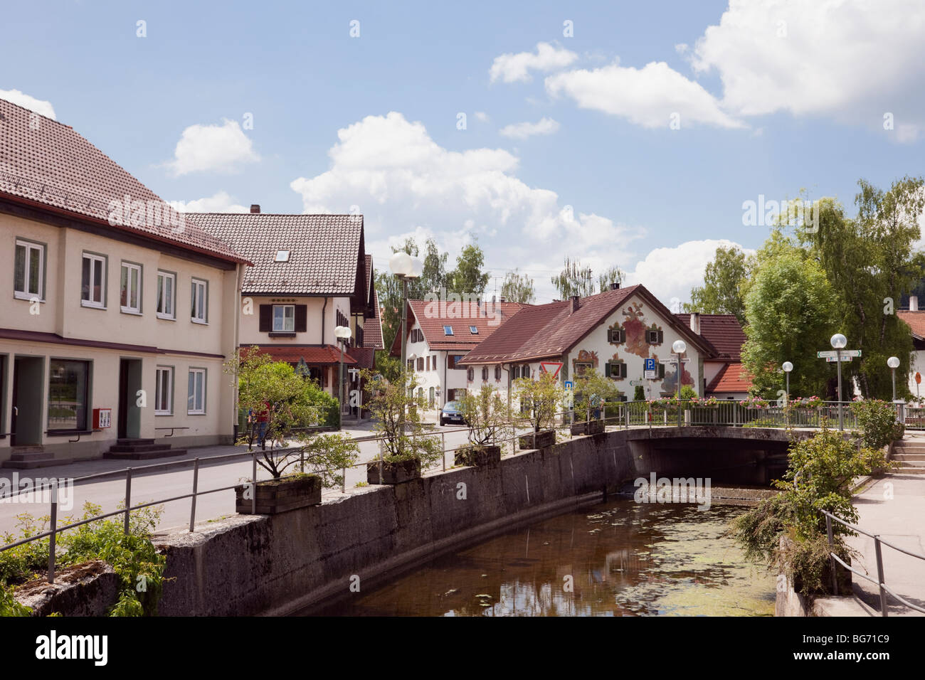 Peiting, Bavaria, Germany, Europe. View along the River ...