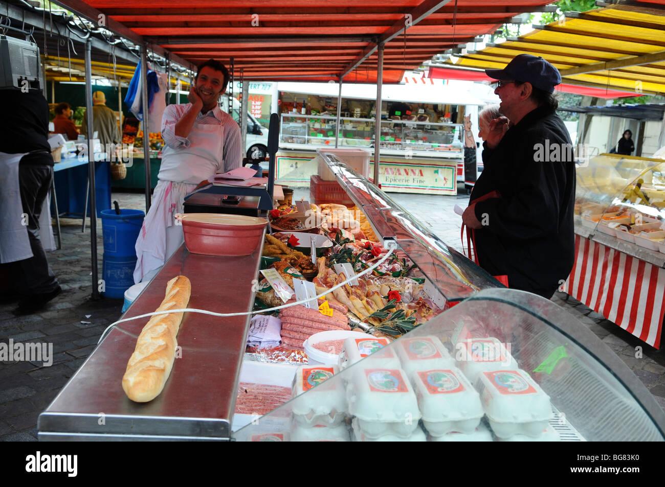 France paris an outdoor street food market a butcher for Outdoor food market