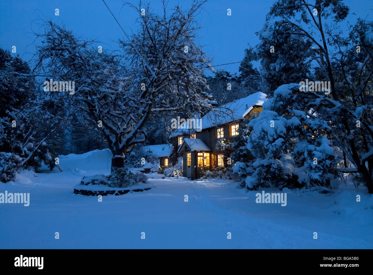 Christmas card image of a snowy landscape scene with cozy for Christmas landscape images