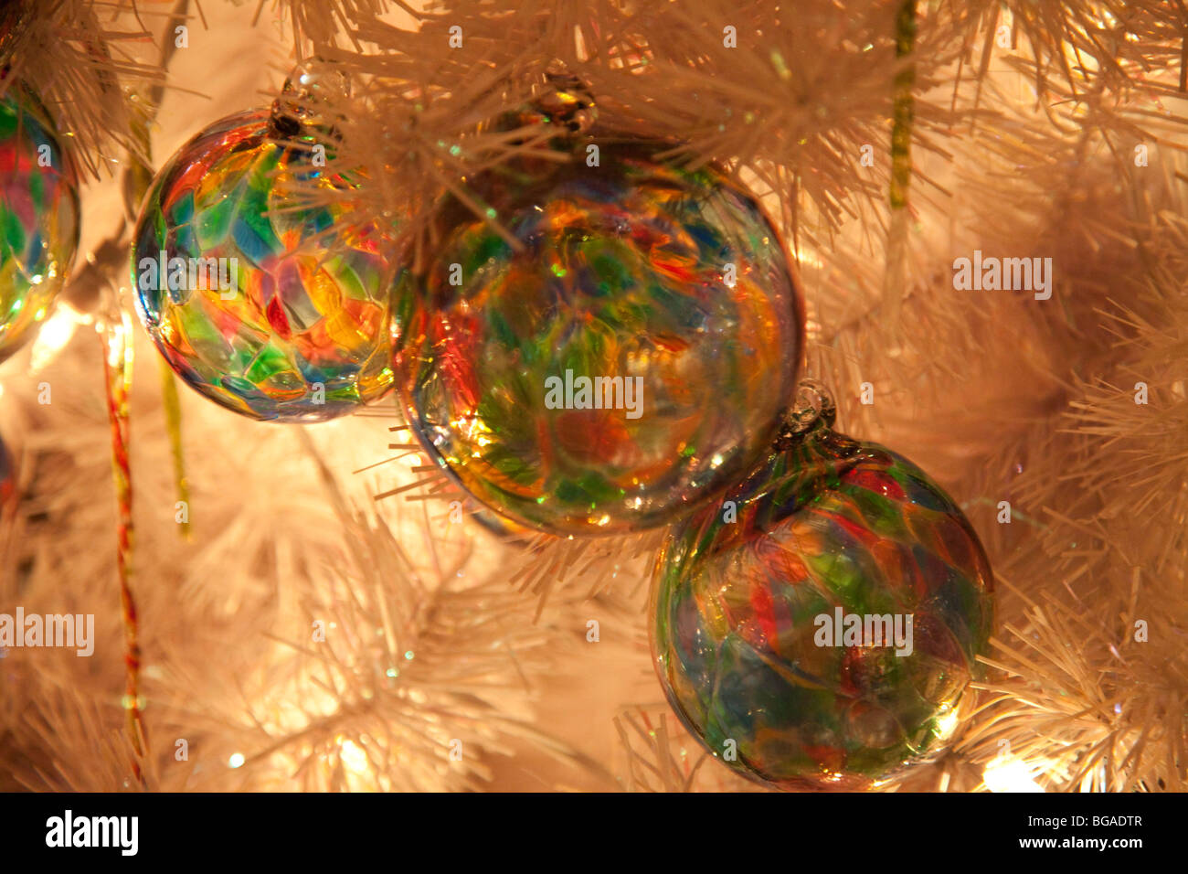 Colored Glass Spheres In The White Artificial Christmas