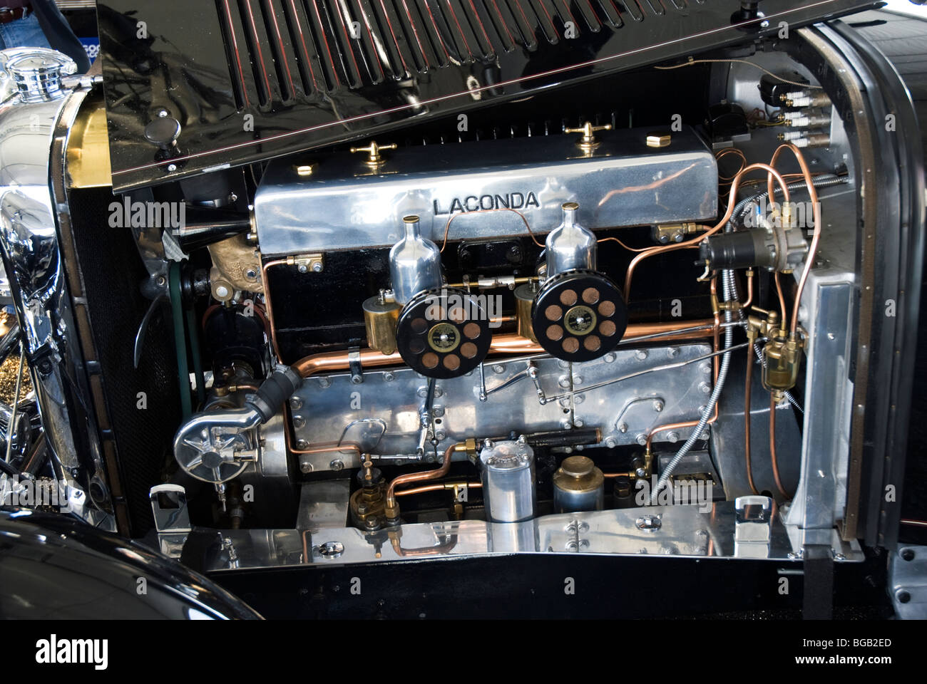 the spotless engine compartment of a 1933 lagonda 3 litre. Black Bedroom Furniture Sets. Home Design Ideas