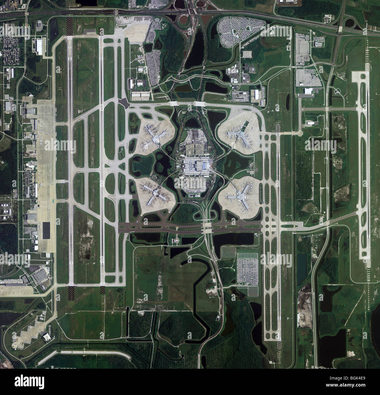 aerial map view above Greater Orlando Aviation Authority Orlando International Airport Florida Stock Photo