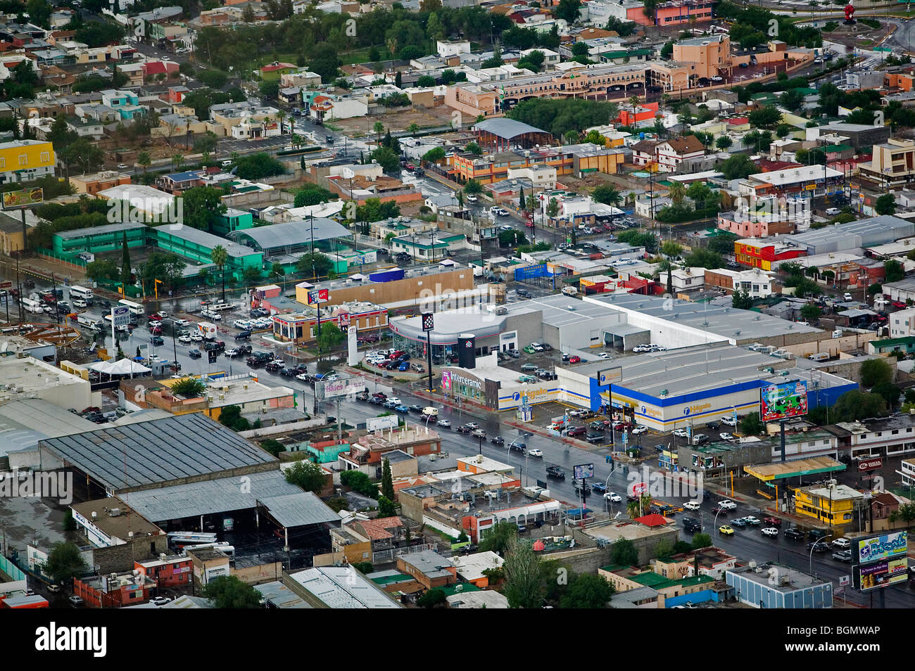 Aerial View Above Ciudad Juarez Mexico Stock Photo