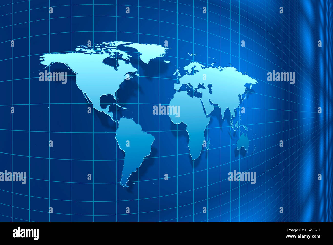 Perspective view of a light blue world map against a dark blue Stock Photo R