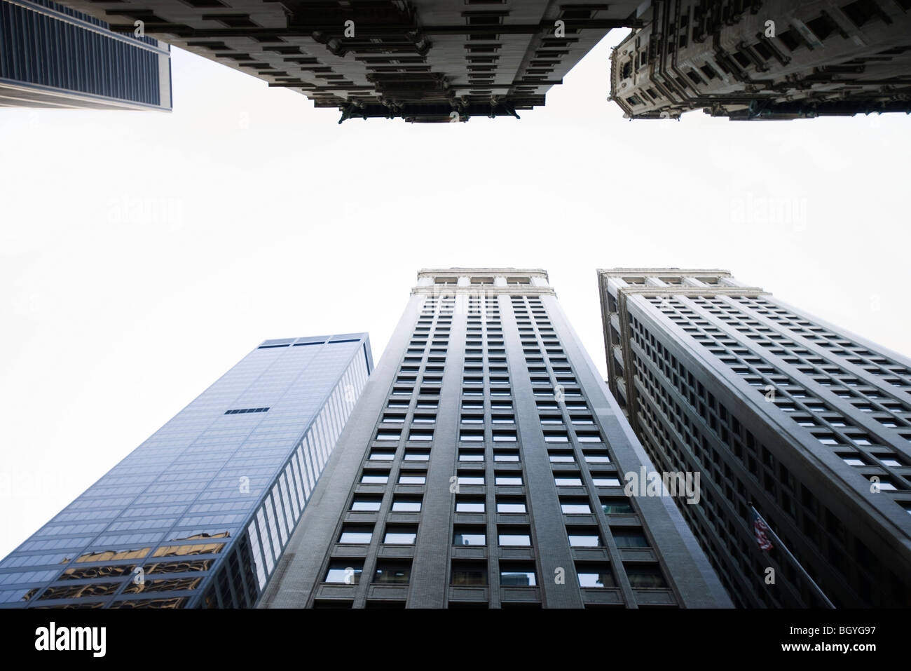 Skyscrapers side by side, low angle view Stock Photo