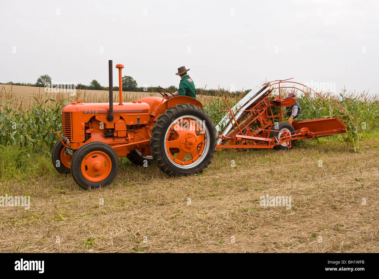 1942 Case Tractor : Case dc with corn binder stock photo royalty