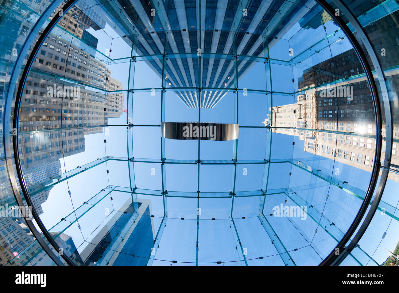 USA, New York City, Manhattan, skyscrapers of Fifth Avenue viewed from below through a glass roofed ceiling Stock Photo