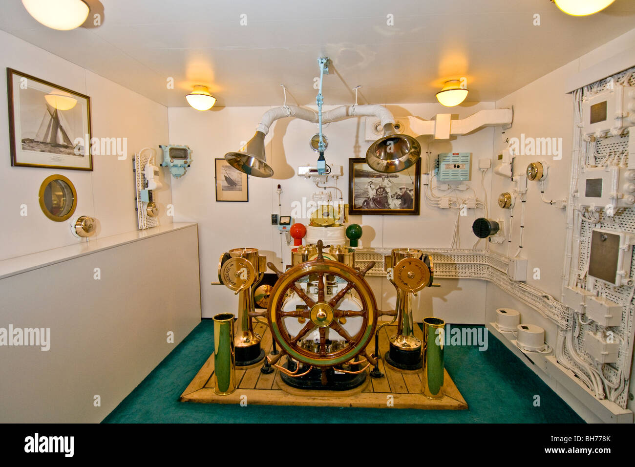 Reconstruction Of The Royal Yacht Britannia Wheelhouse In The Visitor Stock Photo Royalty Free