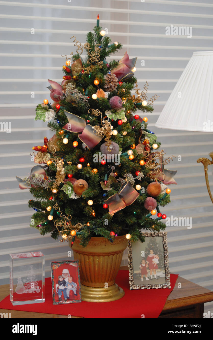 A Small Elegantly Decorated Christmas Tree Sits Atop A
