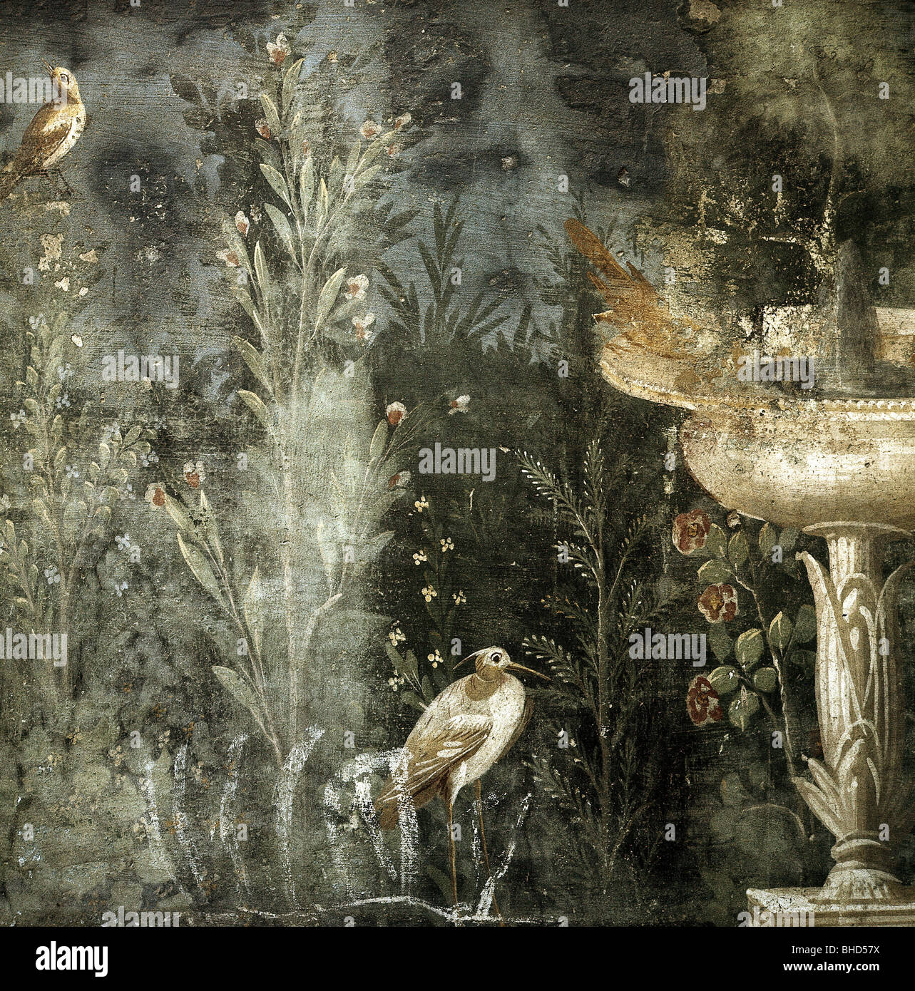 fine arts, Ancient World, Roman Empire, Pompeii, detail from a fresco, garden scene, House of Venus, Italy, historic, Stock Foto