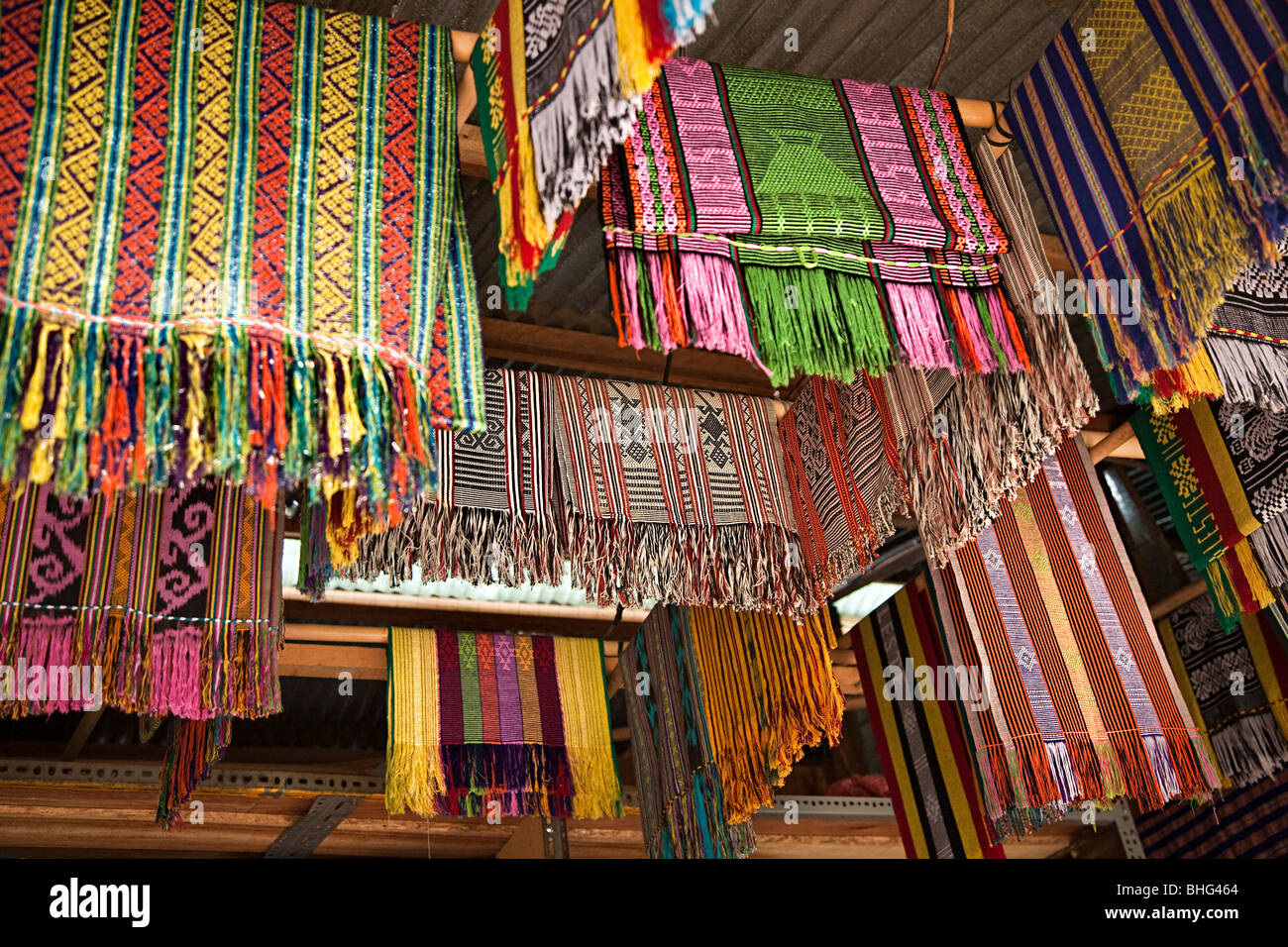 Tais in market in dili east timor Stock Foto
