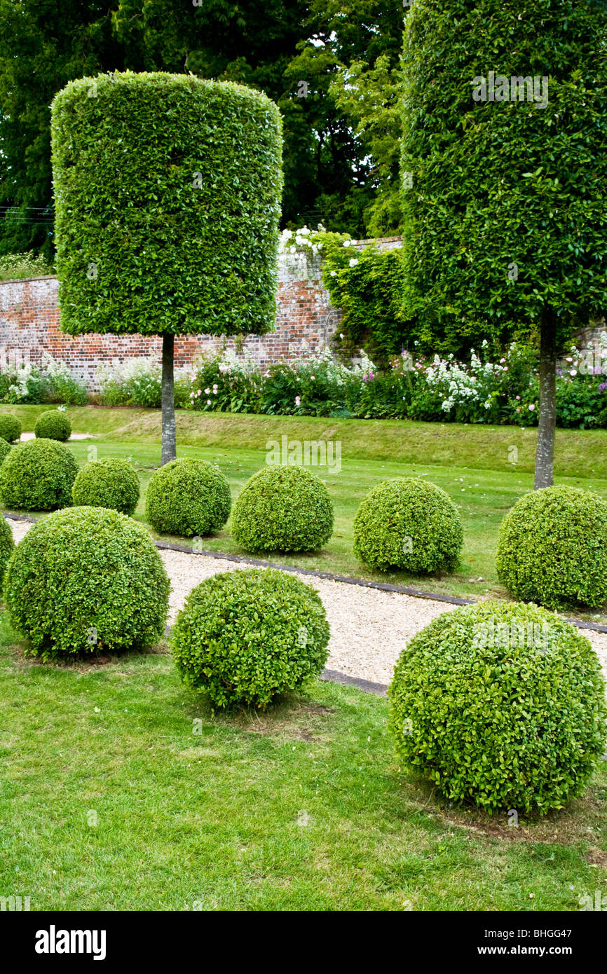 Topiary trees and bushes along a gravel path in an english for Garden topiary trees