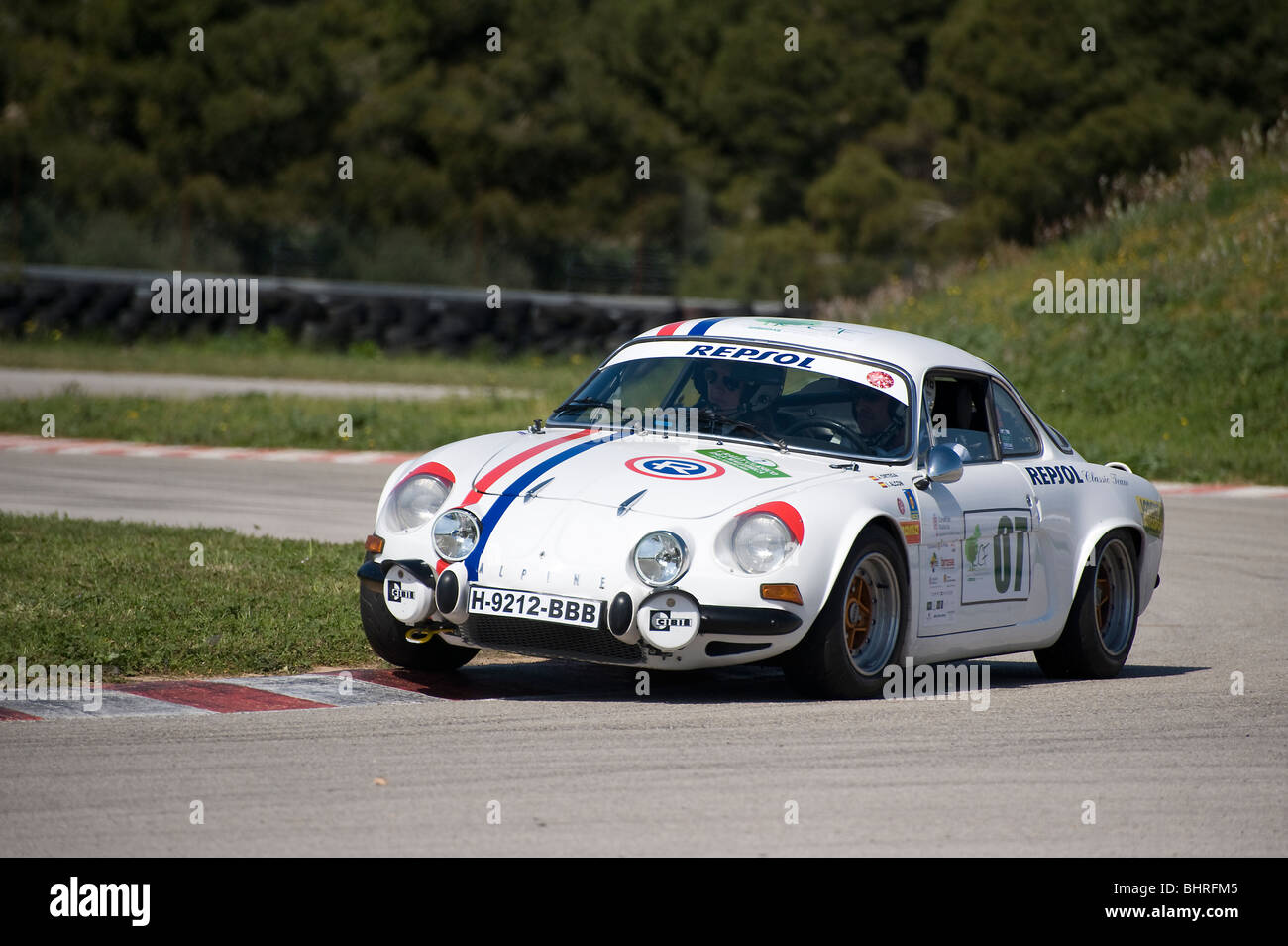 1969 renault alpine a110 berlinette racing in a classic car rally in stock photo royalty free. Black Bedroom Furniture Sets. Home Design Ideas