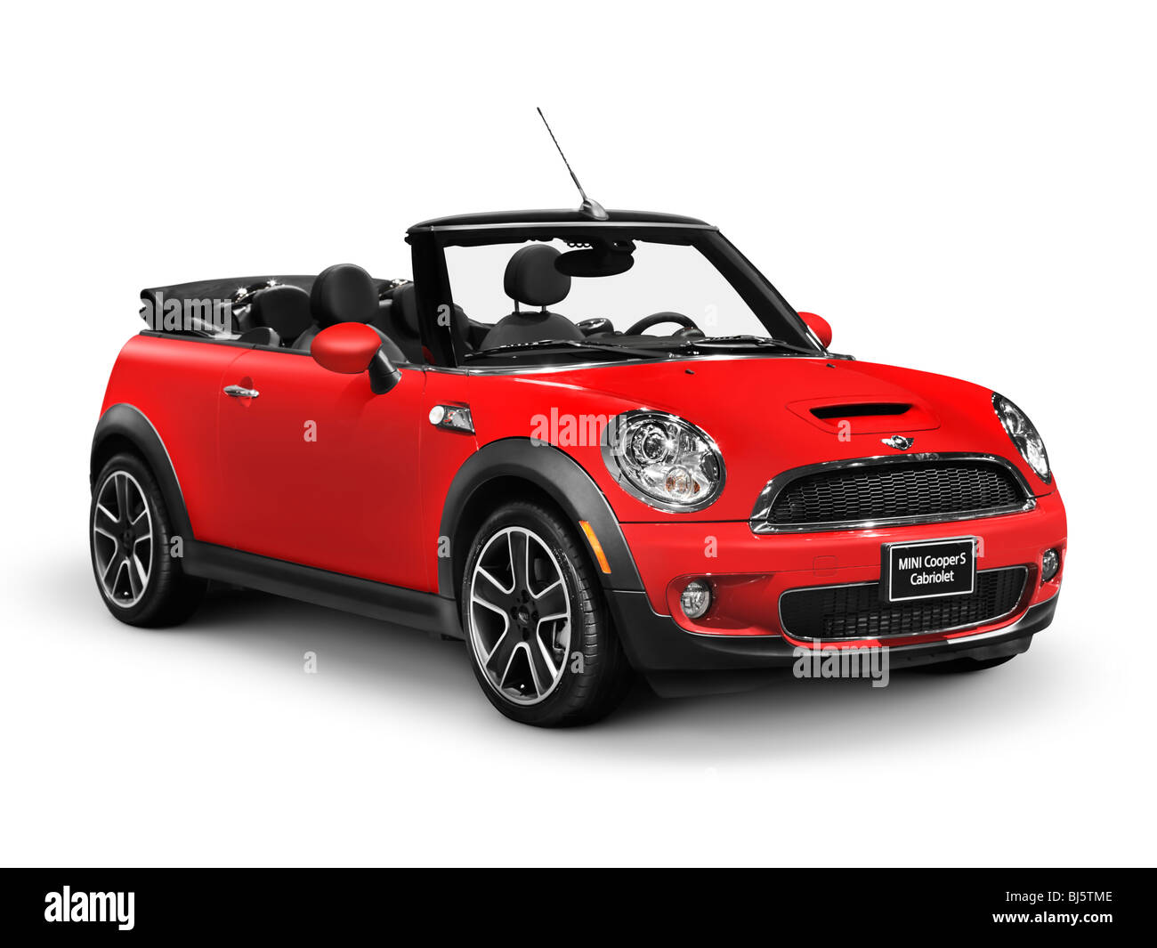 Red 2010 Mini Cooper S Convertible Car Isolated On White
