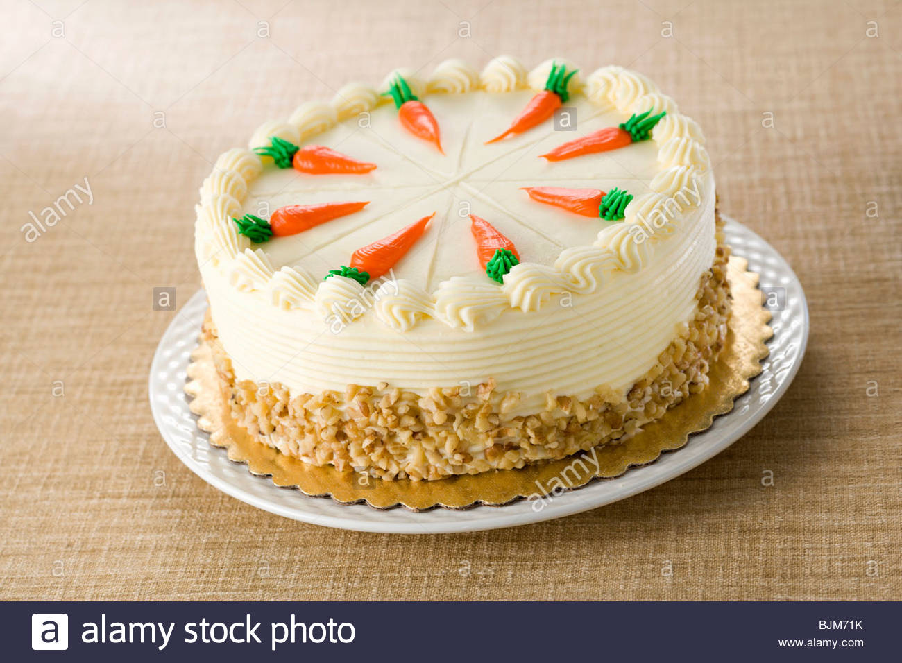 Whole Carrot Cake With Frosting Carrot Decoration Stock