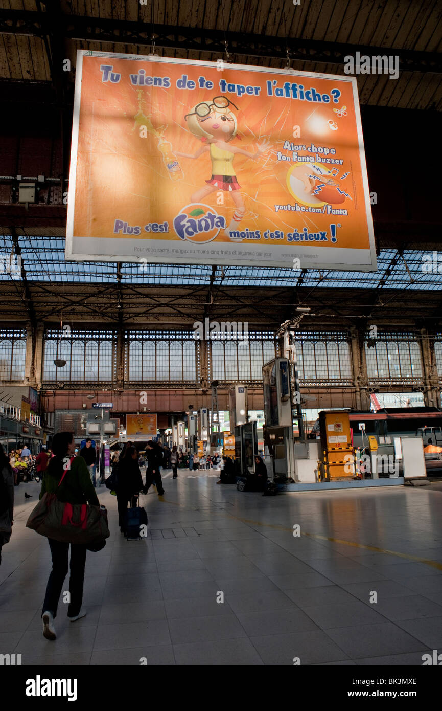 "Paris, France, People in ""Gare d'Austerlitz"" Train Station, Billboard, French Advertising Soft Drinks Stock Photo"