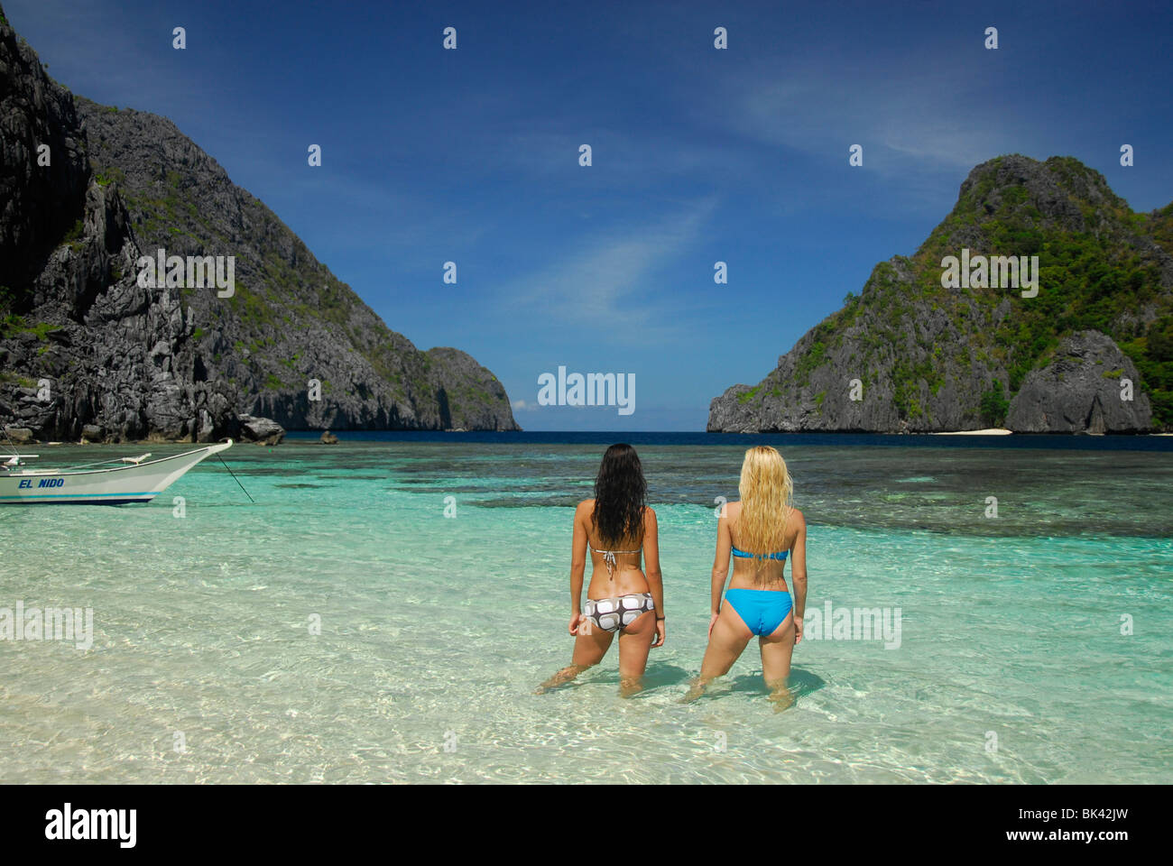 Young Girls On The Beach In El Nido Area Palawan