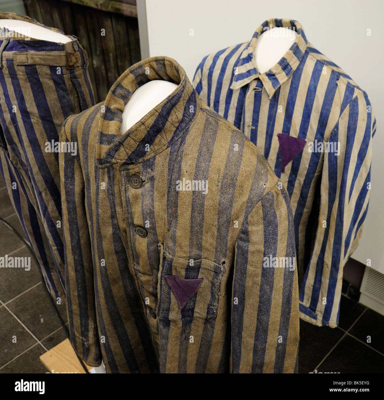 Striped uniforms of concentration camp prisoners on ...