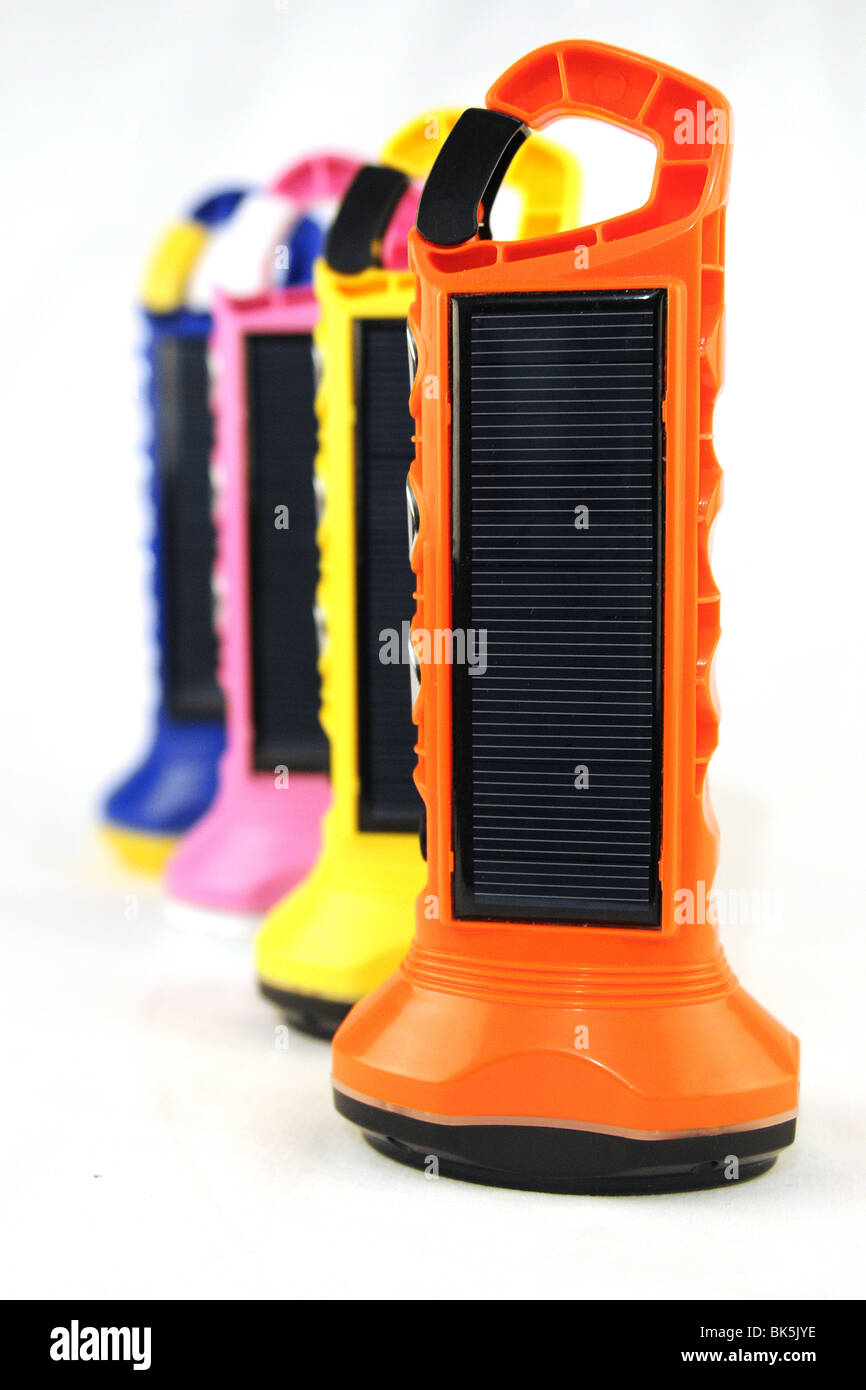 colourful 'BoGo Light ' Solar Paneled torches Stock Photo