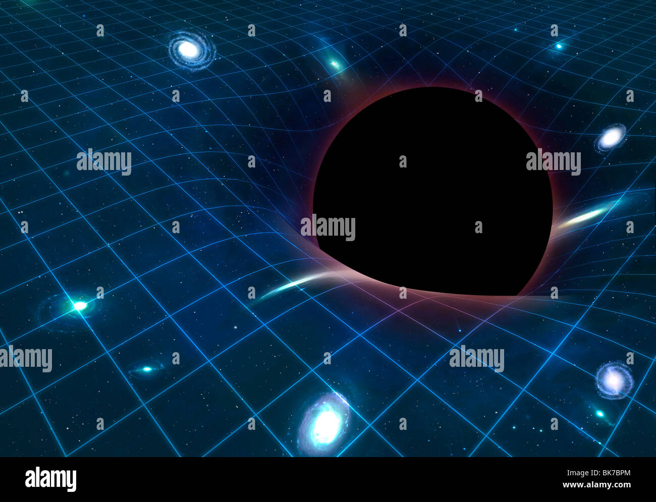 Black hole warping space time artwork stock photo for Space time fabric black hole